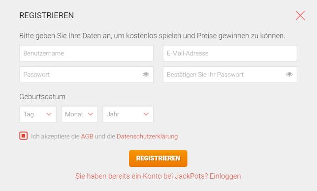 jackpots.ch registrieren