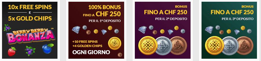 promozioni disponibili con Swiss Casinos codice promo