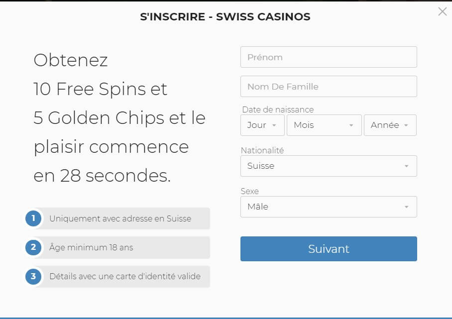Code promo SwissCasinos