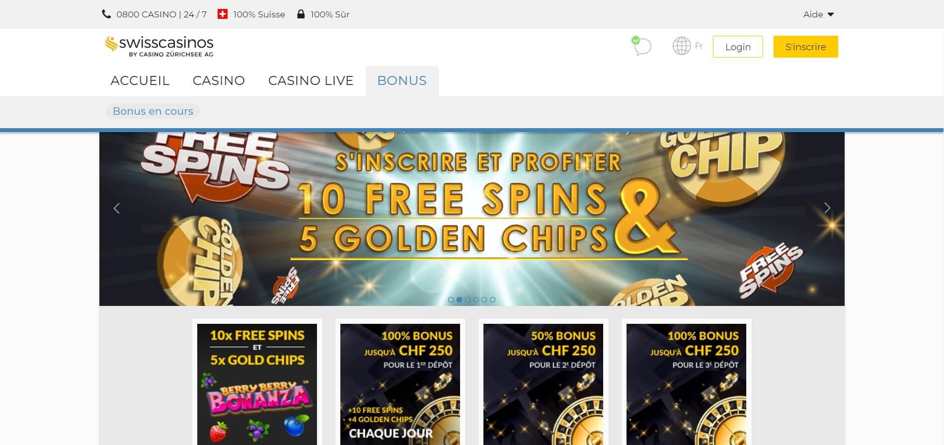 Bonus SwissCasinos : 250 CHF et plus pour le casino et le poker !